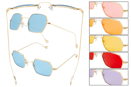 66141 - Vox Metal Retro Sunglasses w/ Colored Lens
