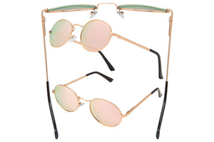 66143 - Vox Metal Fashion Sunglasses w/ Pink Revo Lens