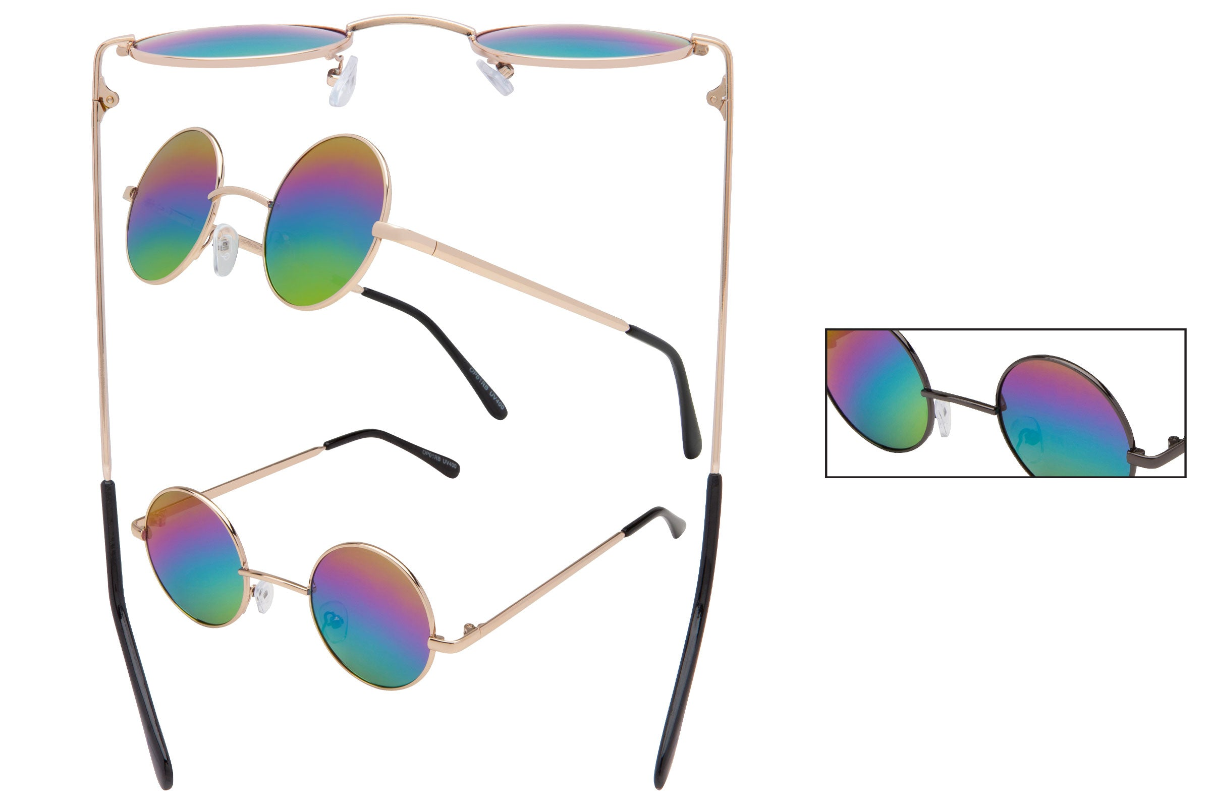 OP01RB - Metal Wire Sunglasses w/ Rainbow Lens