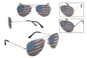 RB08USA - Pilot Sunglasses w/ Flag Lens