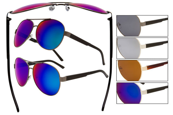 SM06P - Wire Rimmed Polarized Pilot Sunglasses