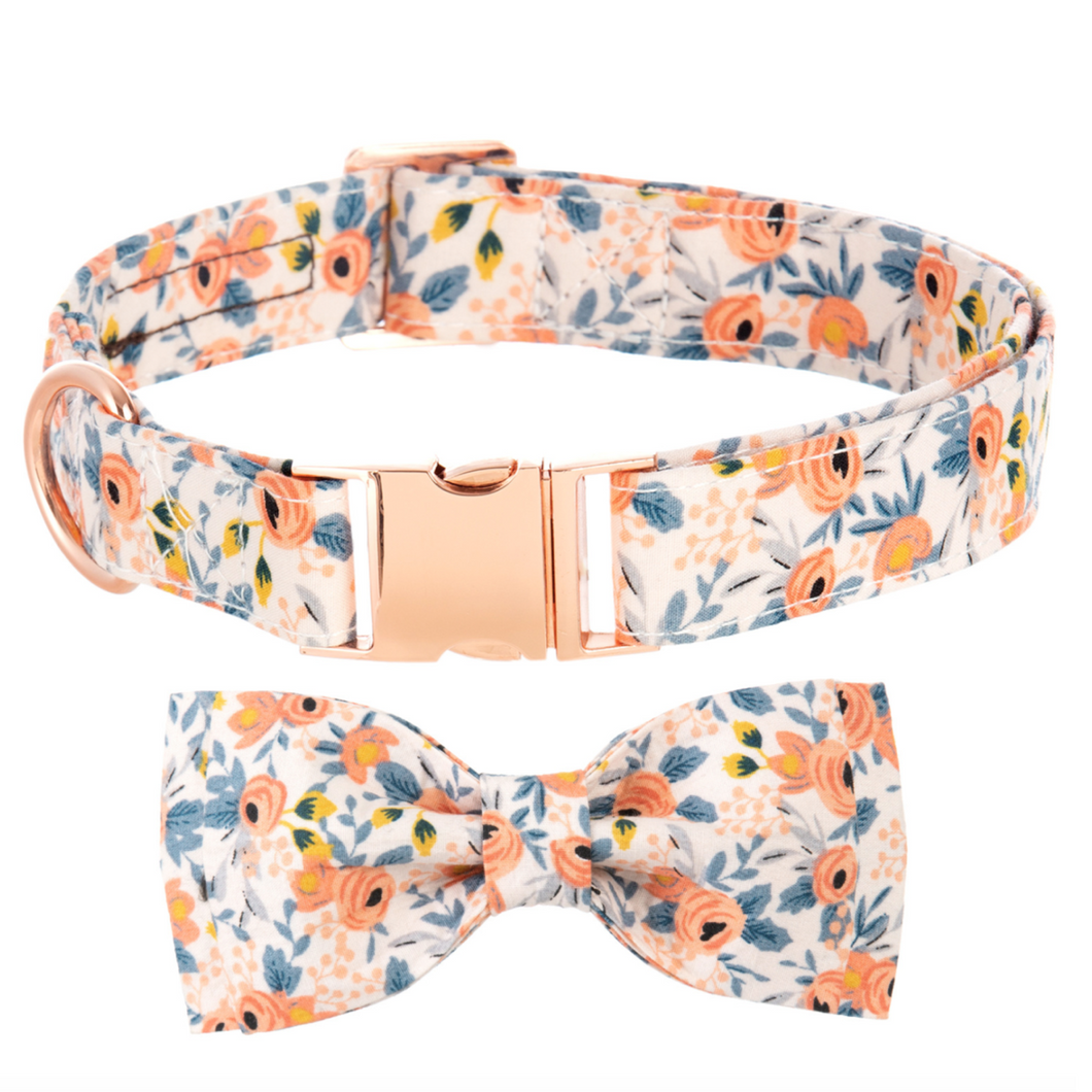 Dog Collars - Small Floral in Orange