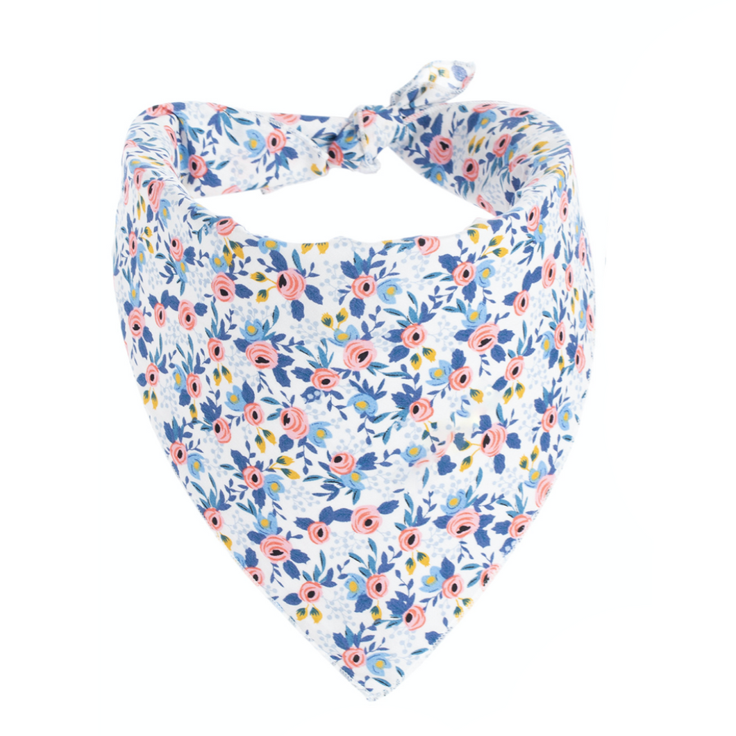 Dog Bandanas - Small Floral in Baby Blue