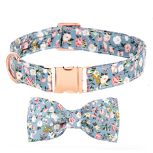 Load image into Gallery viewer, Dog Collars - Small Floral in Stone Blue