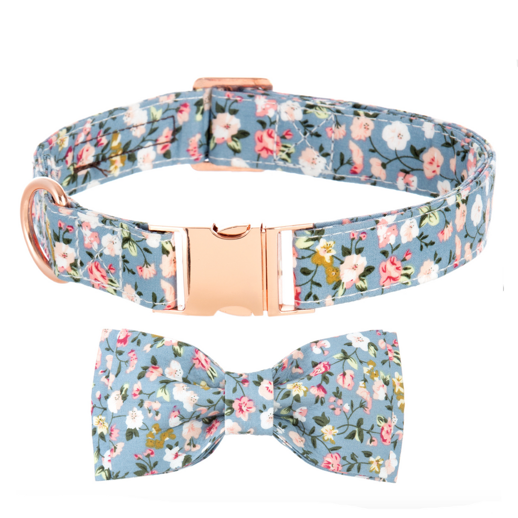 Dog Collars - Small Floral in Stone Blue