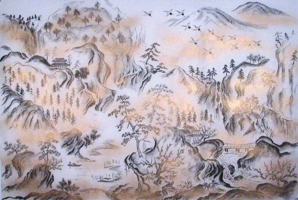 Sougara Yuzen Art Scene Charcoal Mountain Landscape