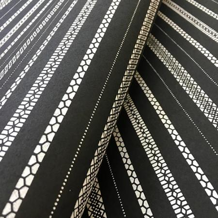 Katazome Black with White Stripes