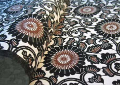 Katazome Black and Brown Large Mums with Vines