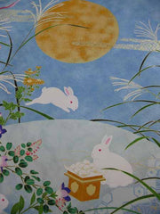 Sougara Yuzen Art Scene Rabbits with Full Moon