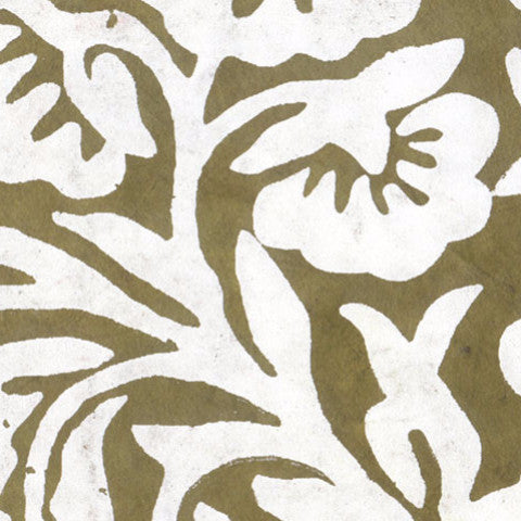Lokta Off White Floral on Moss Green