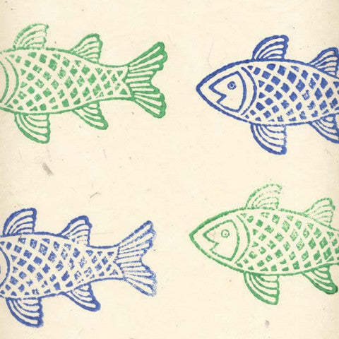 Lokta Woodblock Fish Blue and Green on Natural