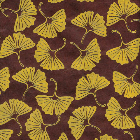 Lokta Yellow Gingko on Chocolate Brown