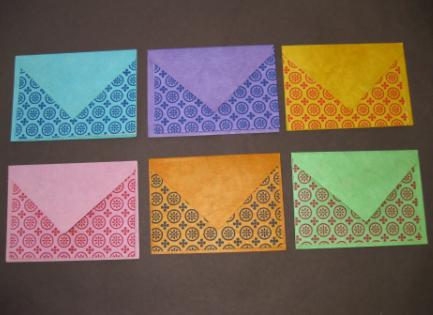 Blank Bright Colors Geometric Circle Printed Notecards w/ Envelopes