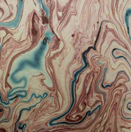 Marbled Lokta-Red and Blue on Natural