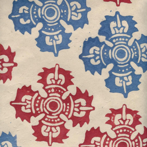 Lokta Woodblock Quatrefoil Red and Blue