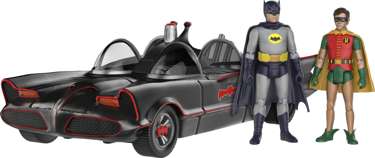 Batman and Robin standing next to the Batmobile