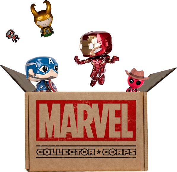 Funko box exploding with Marvel toys