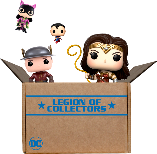 Funko box exploding with DC toys