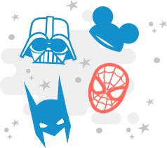 Darth Vader helmet, Mickey Mouse cap, Spider-Man mask, and Batman mask clockwise from top left
