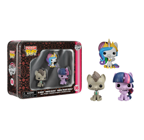 Funko Pocket POP! My Little Pony 3 pack Tin - Dr. Hooves, Celestia, Twilight Sparkle