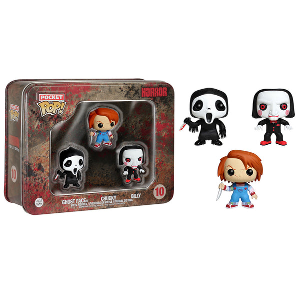 Pocket Pop! Horror 3 Pack Tin - Ghostface, Chucky, and Billy