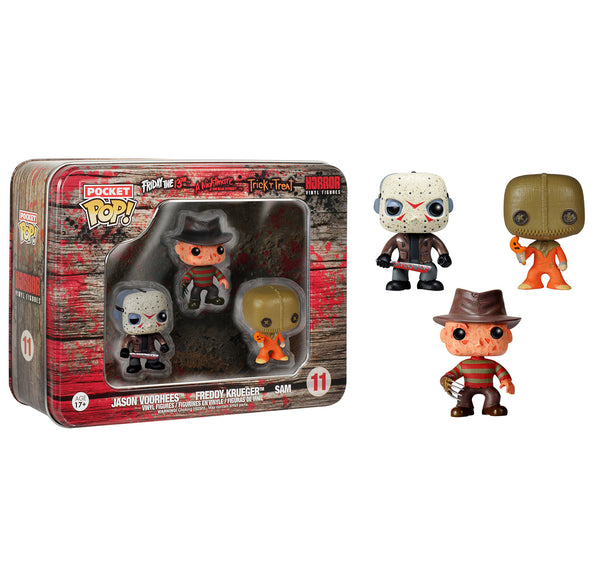 Pocket Pop! Horror 3 Pack Tin - Jason Voorhees, Freddy Kruger, and Sam
