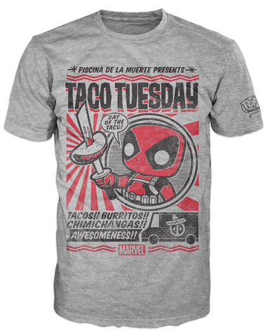 Pop! Tees: Marvel - Deadpool Taco Tuesday