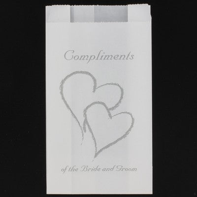 Wedding - White Grease Proof Cake Bags - Silver Heart  Compliments Bride & Grooms x 10 Pack