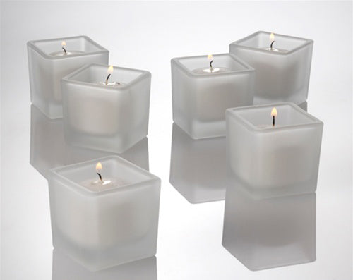 Square Frosted Glass Holder Votive Candle - White Wax - Small