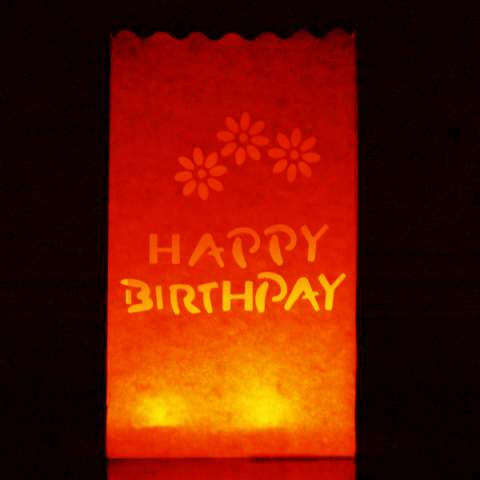 Happy Birthday Red Tealight Candle Lantern Paper Party Safe Bag - 10 Pack