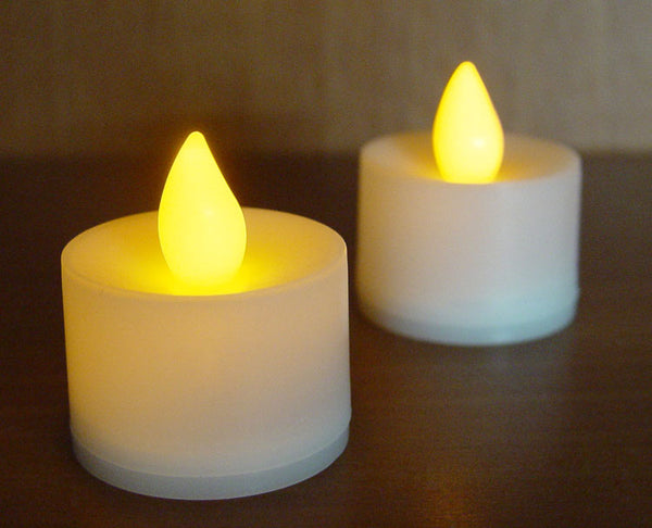 LED Candle - White Body Amber Flame - Battery Operated On/Off Switch