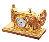 Desk Top Novelty Gold Sowing Machine Clock