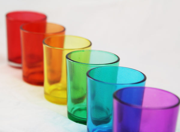 Rainbow 6 Shot Glass Tealight Holder Pack - Mardis Gras Wedding Event