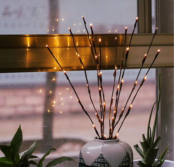 LED lights on branch stems - battery powered table centrepiece fairy lights - Medium