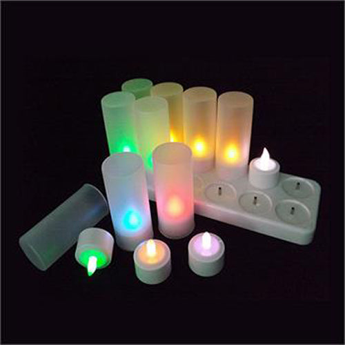 12 x Recharchable LED Battery Tealight Candle Set - White Holder - Colour Changing