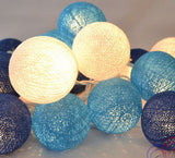 Ocean Blue Cotton Ball 5cm Ball - Battery Powered -  fairy lights