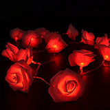 Red Roses table decoration or centrepiece - mains powered string fairy lights