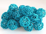 Natural Cane Aqua Turquoise Wicker Rattan Ball Style -Battery Powered -  fairy lights
