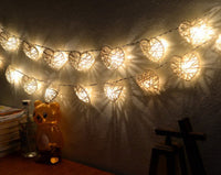 Natural White Cane Wicker Rattan Heart Style -Battery Powered -  fairy lights