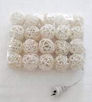 White Cane Rattan 6cm Ball - LED Bulb fairy lights