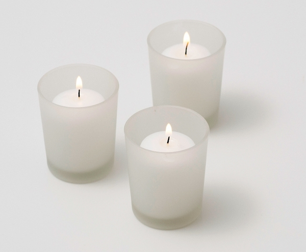 Frosted Glass Votive Candle - White Wax - Wedding Decorations Candle