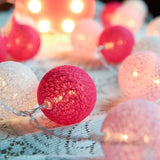 Pink Cotton Ball 5cm - Mains Power- LED Bulb fairy lights