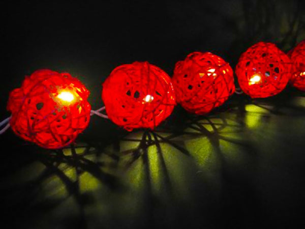 Red Cane Rattan Ball Style - fairy lights