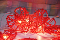 Red Cane Wicker Rattan Heart Style -Battery Powered -  fairy lights