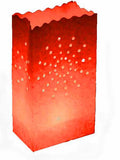 Red Sun Rays Lantern Tealight Candle Paper Bags - Party Decoration - 10 Pack