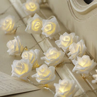 White roses table decoration or centrepiece - battery powered string fairy lights