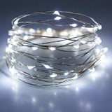 Micro LED lights artic white bulbs - battery powered table centrepiece fairy lights - Medium