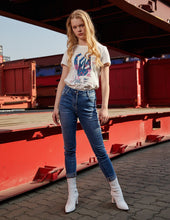Load image into Gallery viewer, MARK FAST Women Washed Denim Side MF Logo Tape Skinny Jeans