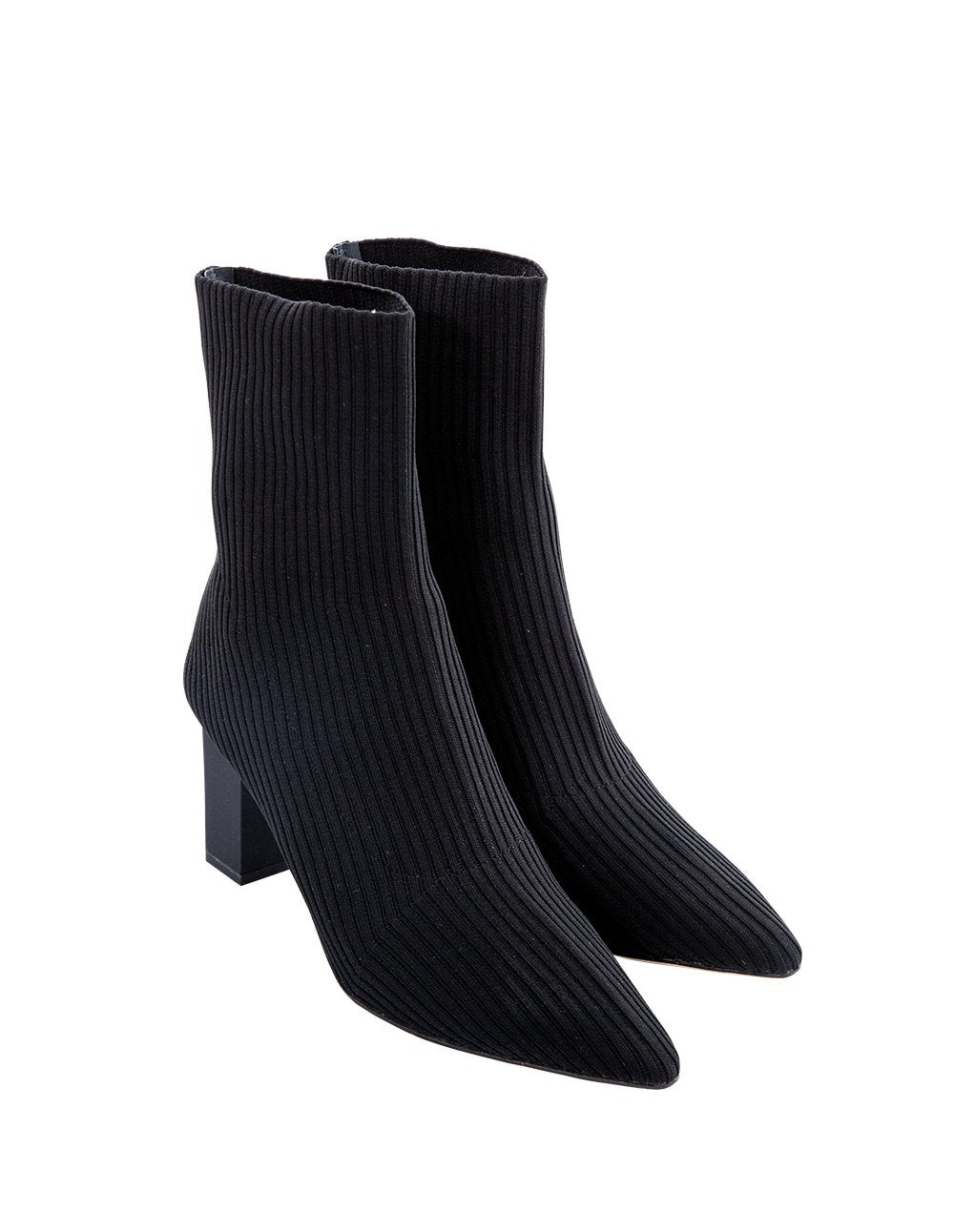 MARK FAST Women Elastic Knit Point Toe Middle Heel Ankle Boots