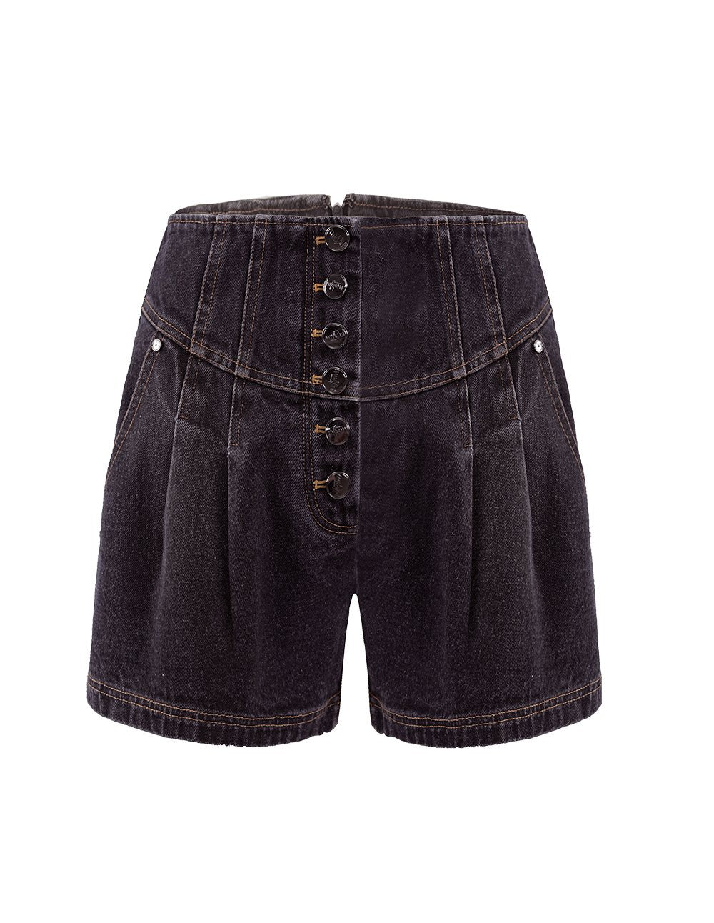 MARK FAST Women High Waist Button Up Wide Leg Denim Shorts